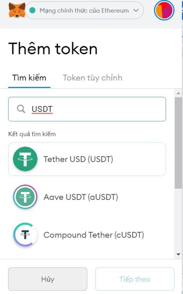 Lựa chọn token cần thêm