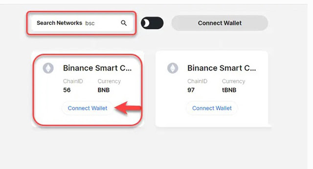 Chọn Connect Wallet